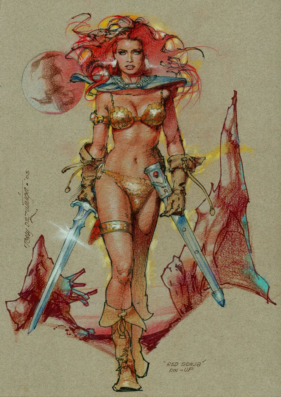 Red Sonja Mixed Media Colored Pinup (2005)