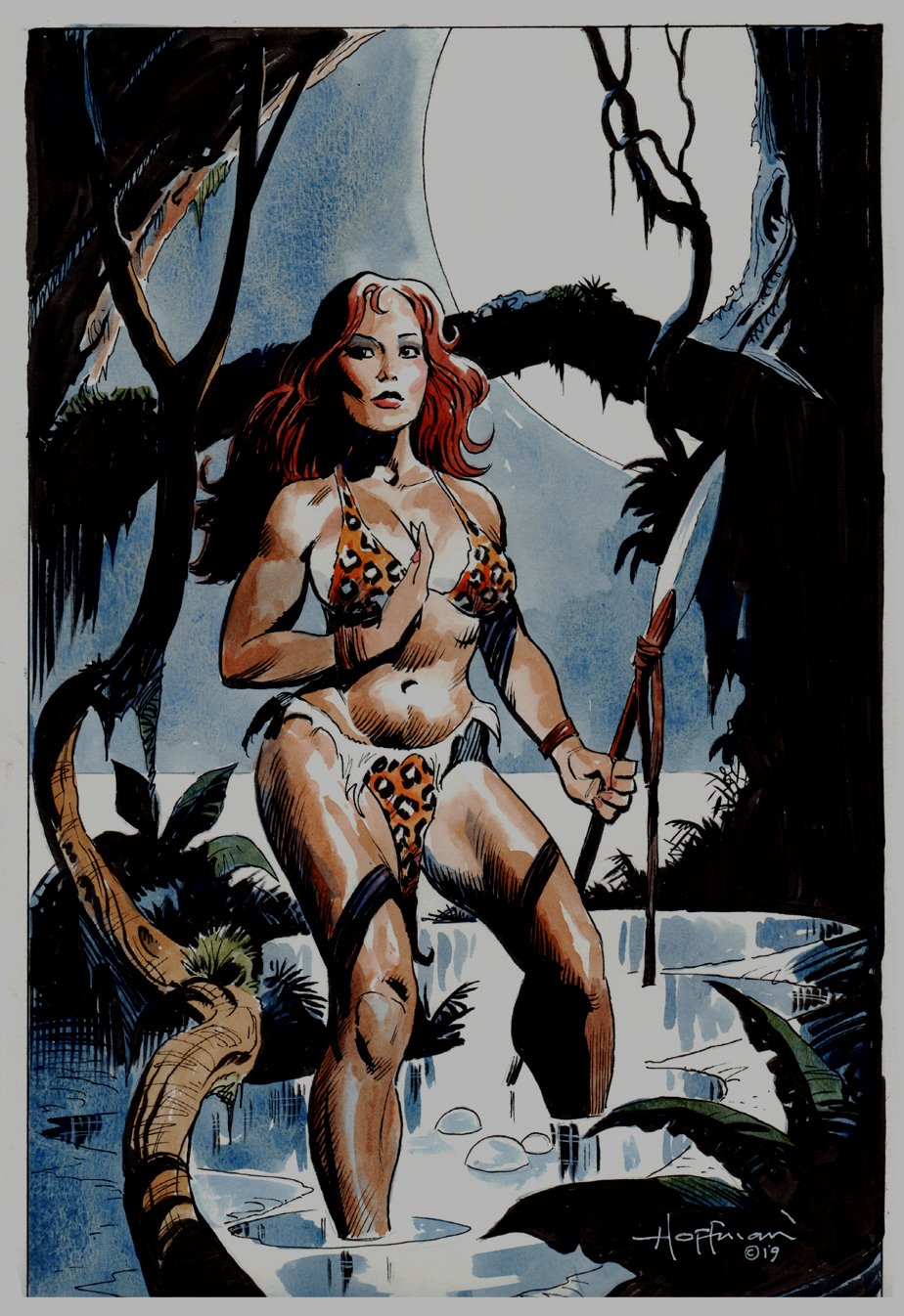 Cavewoman:  #1 Cover Painting (2019)