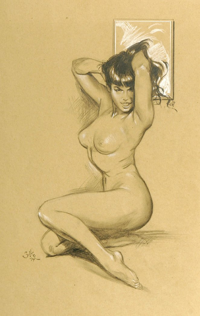 Bettie Page Nude Mixed-Media Pinup (1994) OVER 18 TO VIEW!