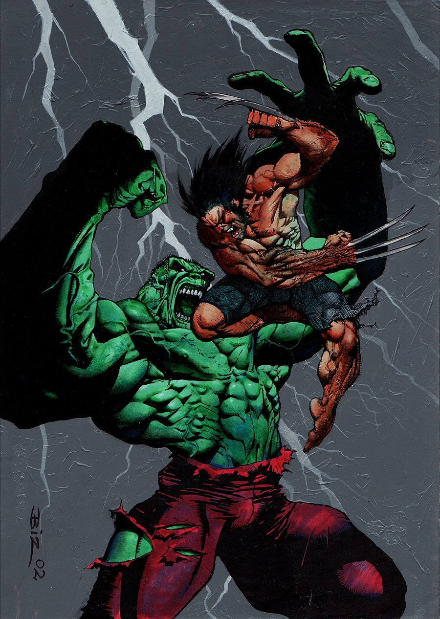 Hulk / Wolverine: Six Hours #4 Cover & Trade Paperback Cover Painting (2002)