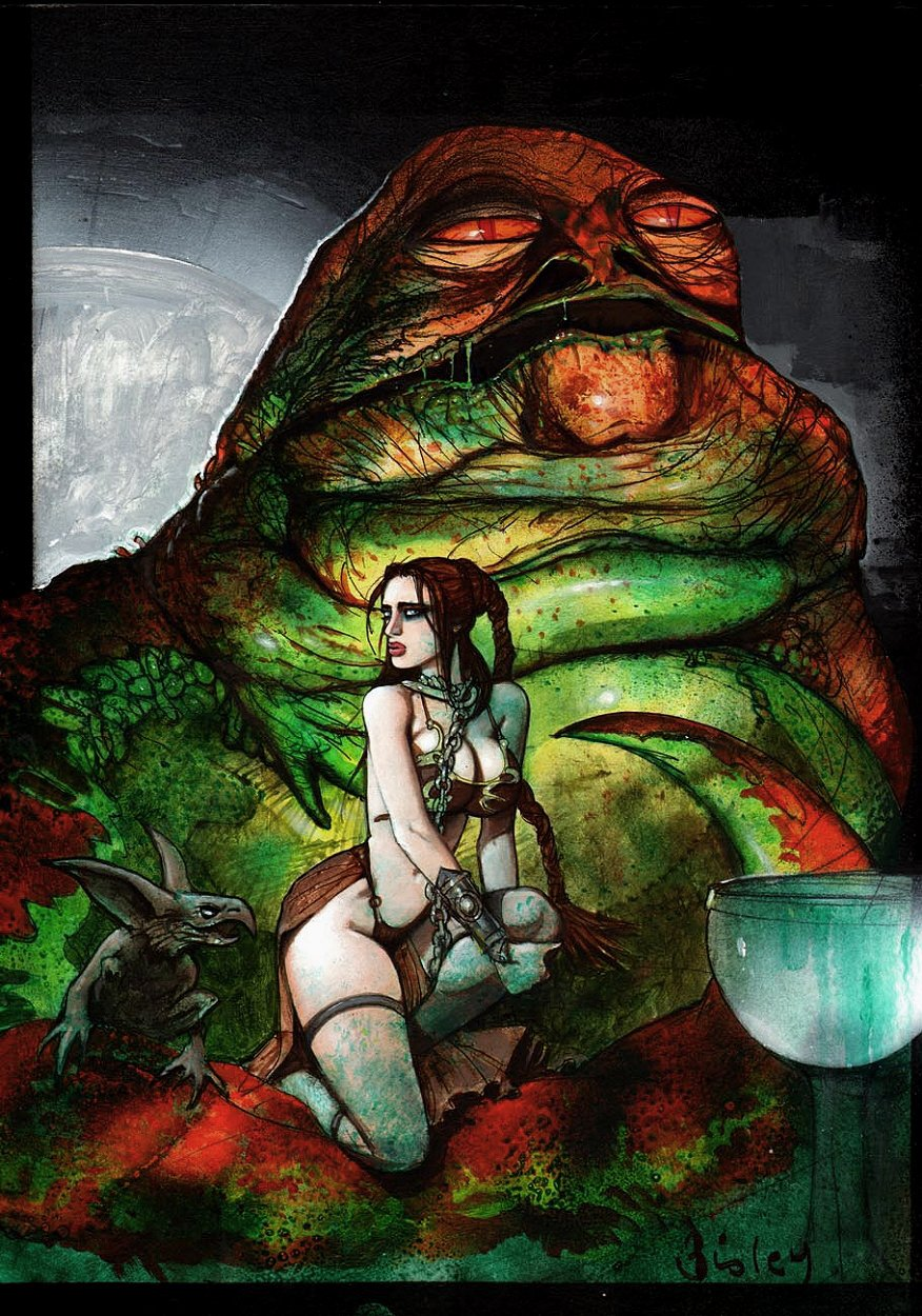 Slave Princess Leia / Jabba The Hut Painting