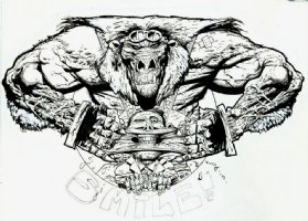 Bisley 'Smile' illustration for T-Shirt Design (Large Art) 1992 Comic Art