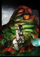 Slave Princess Leia / Jabba The Hut Painting Comic Art