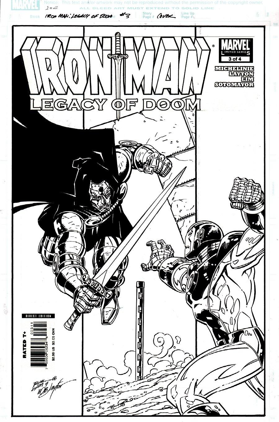 Iron Man: Legacy of Doom #3 Cover (DOOM VS IRON MAN, BOB LAYTON INKS!) 2008