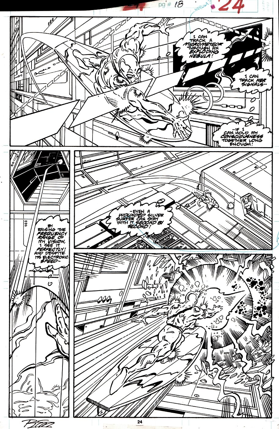 Silver Surfer #24 p 24 (COVER SCENE, SURFER IN EVERY PANEL!) 1989