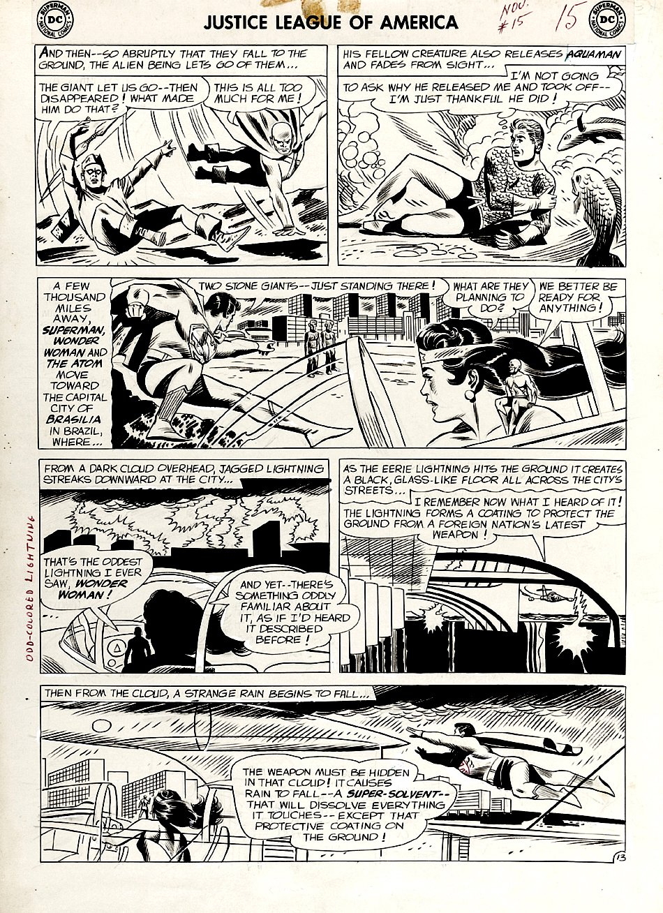 Justice League of America #15 p 13 (ENTIRE TEAM BATTLING!) Large Art - 1962