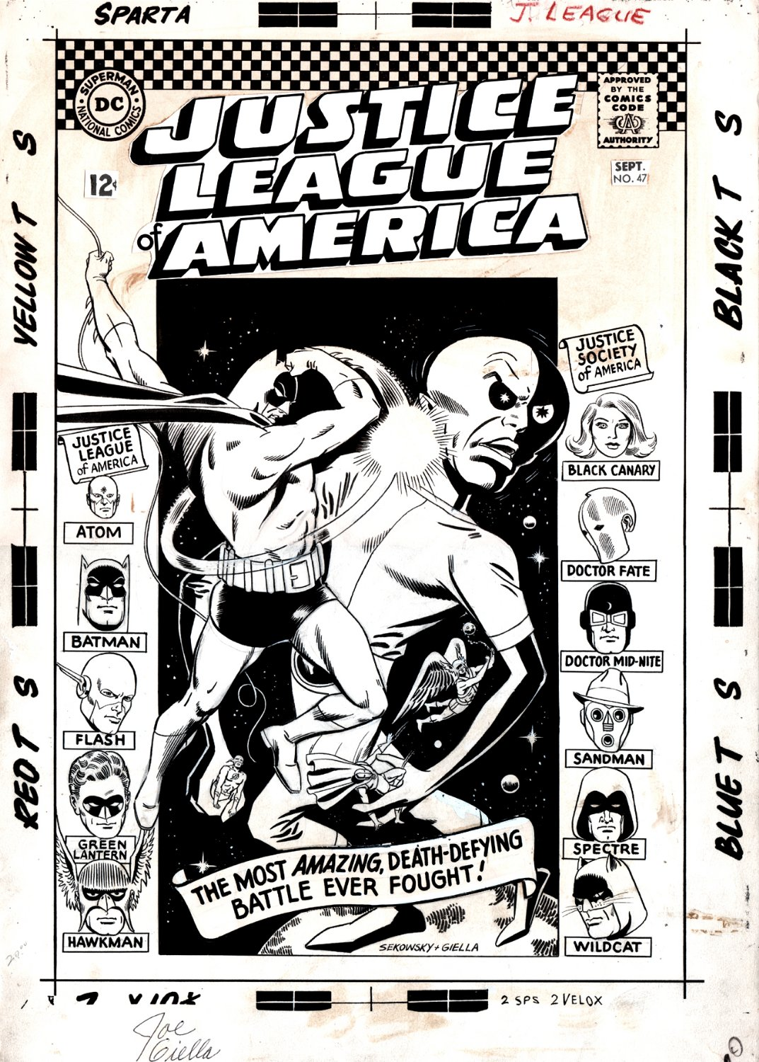 Justice League of America #47 Cover (JUSTICE SOCIETY OF AMERICA CROSS-OVER) Large Art - 1966