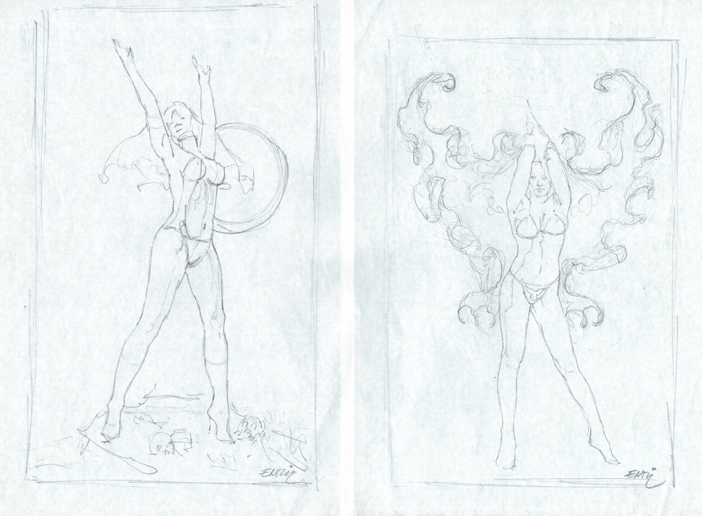 2 Vampirella Pencil Prelim Drawings For Painting