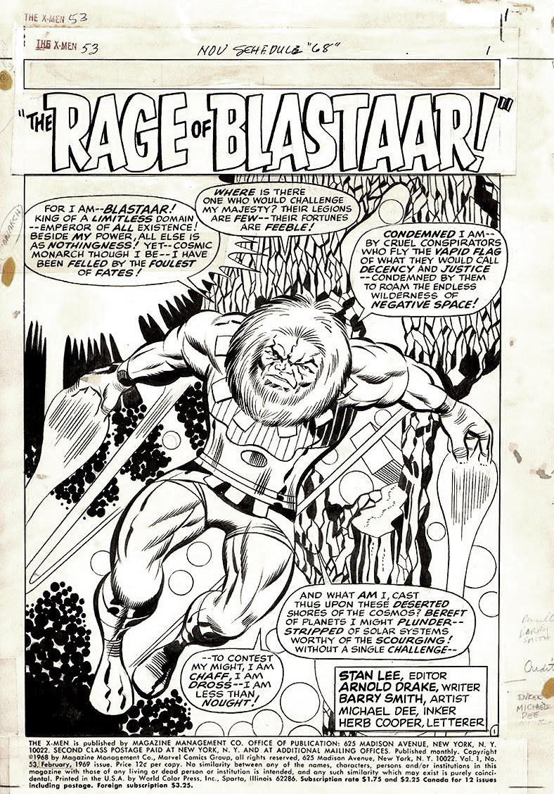 X-Men #53 p 1 SPLASH (VERY FIRST BARRY SMITH PUBLISHED MARVEL PAGE RIGHT HERE!) 1969