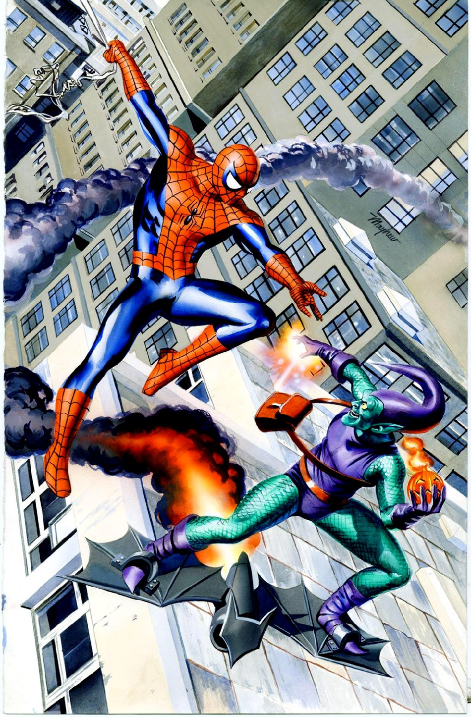 Spider-Man Vs Green Goblin Painted Watercolor Pinup (Used For Conventions)