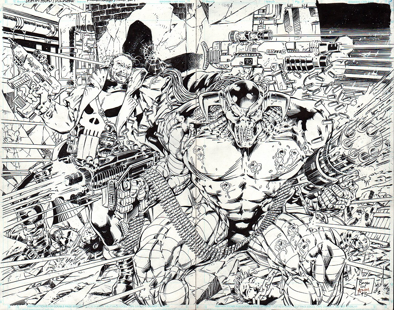 DEATHS HEAD II Vs. THE PUNISHER #1 Wraparound Promo Poster / Unpublished Cover (1993)