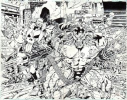 DEATHS HEAD II Vs. THE PUNISHER #1 Wraparound Promo Poster / Unpublished Cover (1993) Comic Art