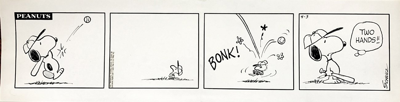 'EARLY WOODSTOCK' With SNOOPY Peanuts Baseball Daily Strip 4-3-1970