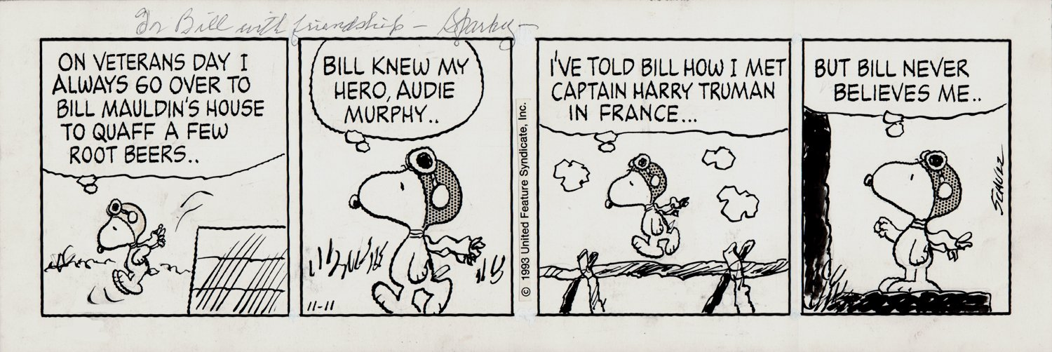HISTORIC World War I Flying Ace Peanuts Strip (11-11-1993)