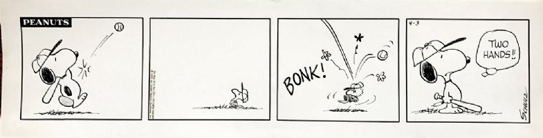 'EARLY WOODSTOCK' With SNOOPY Peanuts Baseball Daily Strip 4-3-1970 Comic Art