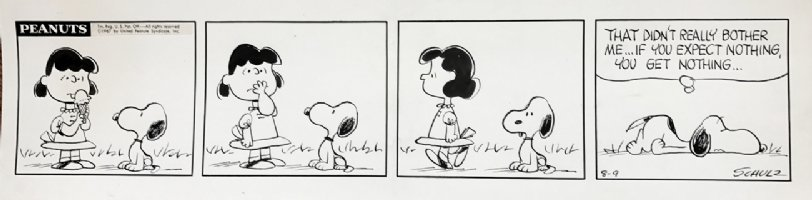 'PRIME ERA' Peanuts Snoopy/Lucy Daily Strip 8-9-1967 Comic Art