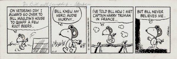 HISTORIC World War I Flying Ace Peanuts Strip (11-11-1993)  Comic Art