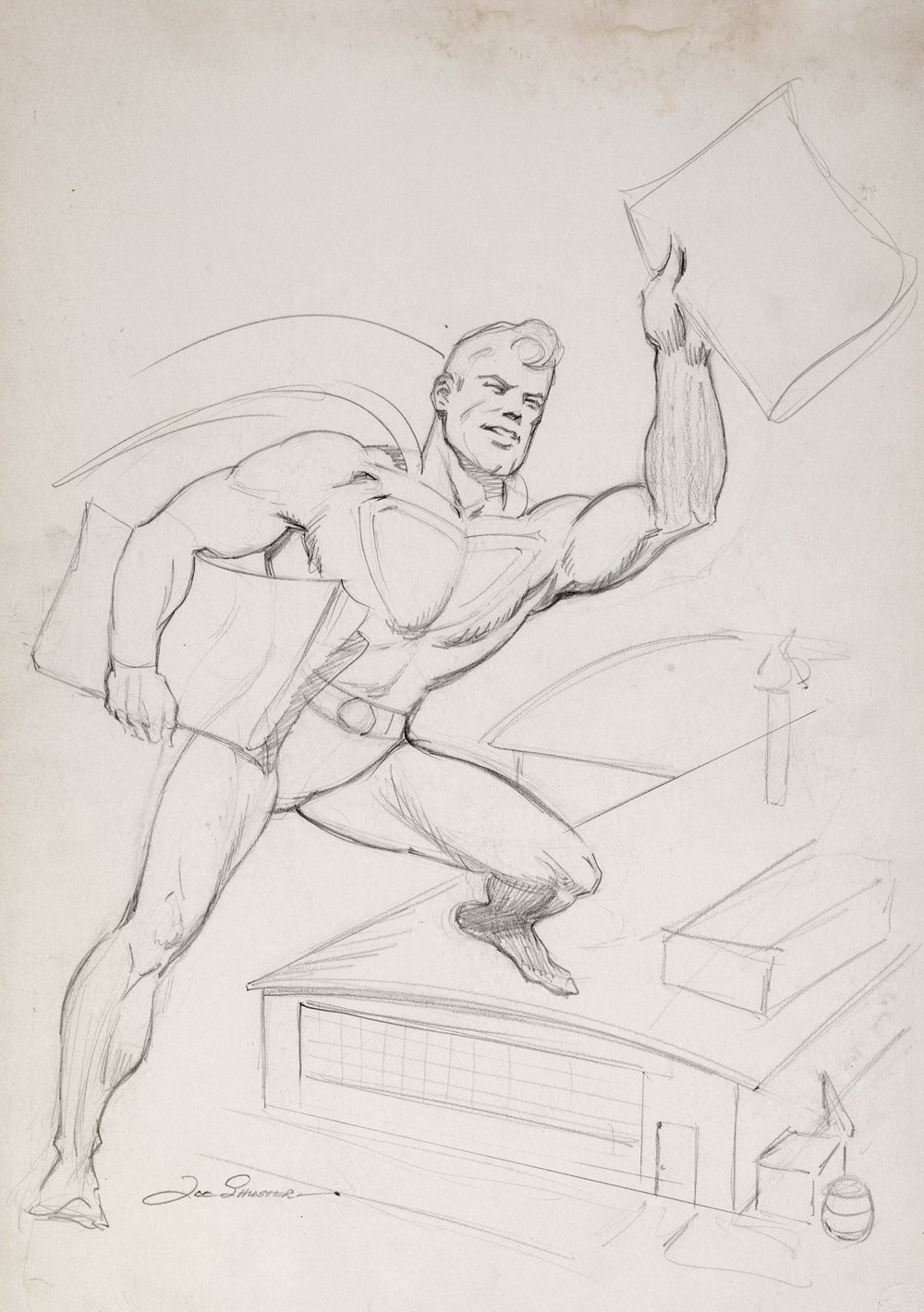 Superman Flying, Delivering Newspapers Illustration (Large Art) 1940s
