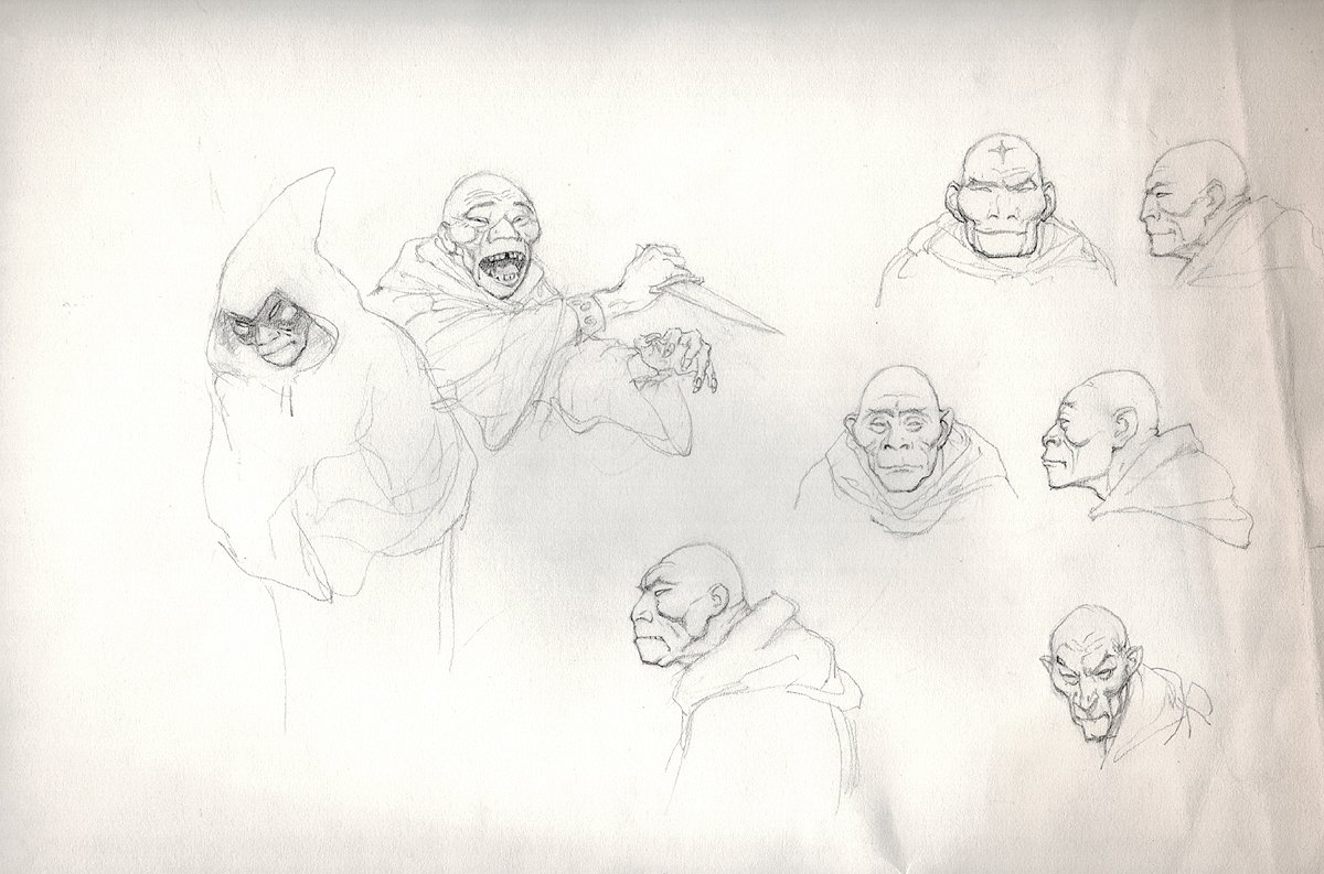 Several Pencil Studies For 'Fire and Ice' Movie (Large) Early 1980s