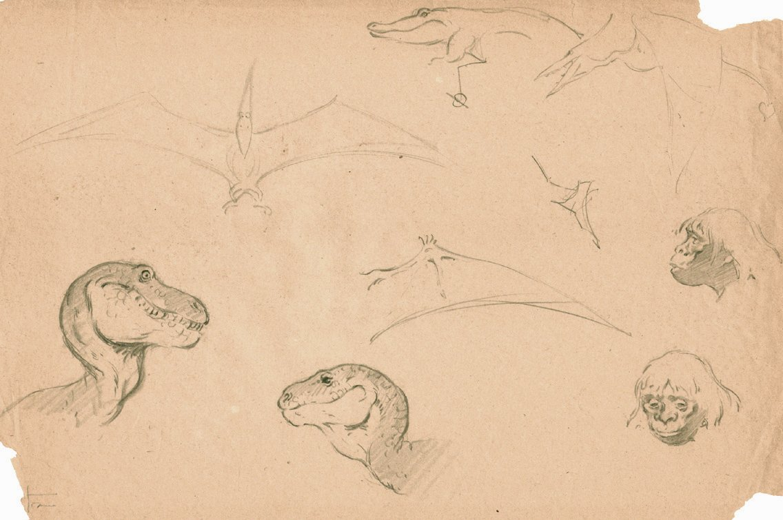1960s Dinosaur Page From Sketchbook