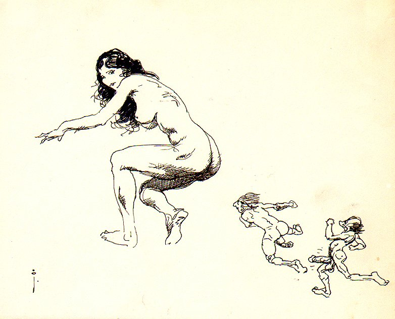 Nude Female Ink Drawing (OVER 18 YEARS OLD TO VIEW!)