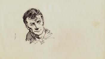 Frank Frazetta Self Portrait Ink Drawing Comic Art