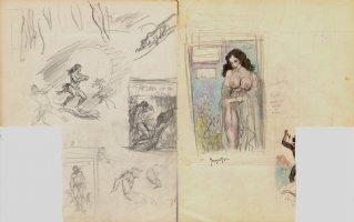 'Brooklyn Dreams' Prelim For Painting, Plus Many Tarzan Cover Prelim Drawings On Back! (1962) Comic Art