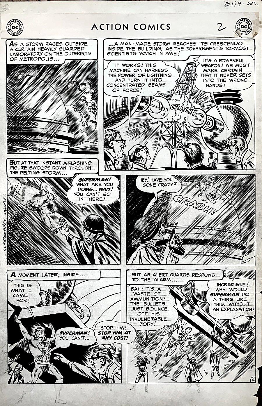 Action Comics #199 p 2 (GOLDEN AGE SUPERMAN ACTION PAGE!) LARGE ART - 1954