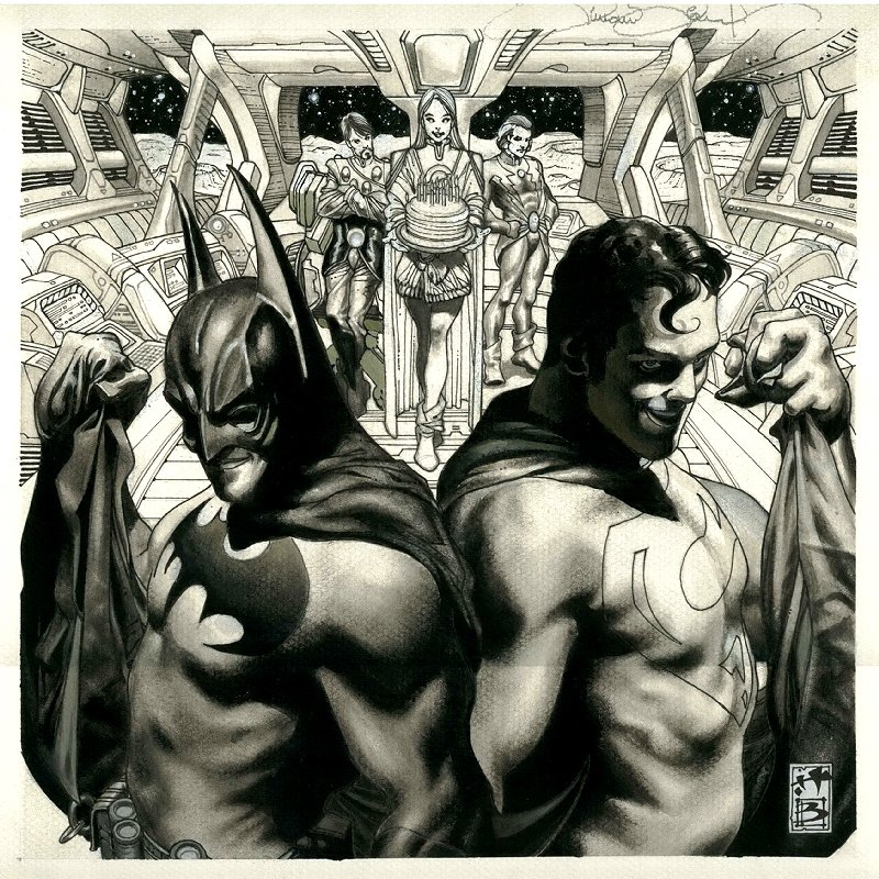 Legion of Superheroes Batman / Superman Card and Poster Art