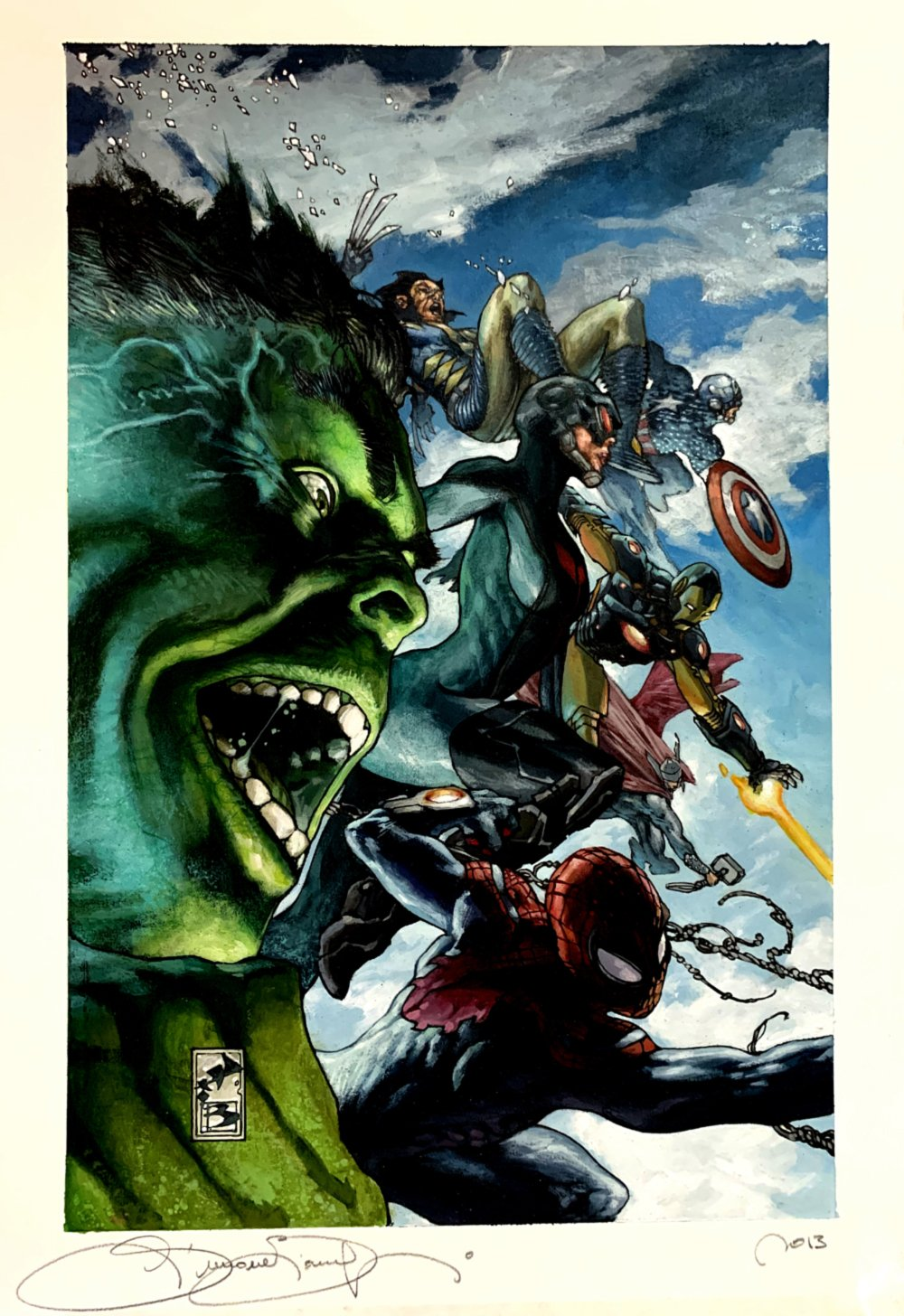 Avengers World #2 Over-Sized Painted Cover (Hulk, Spider-Man, Wolverine, Captain America, Iron Man, Thor, Smasher!) 2013