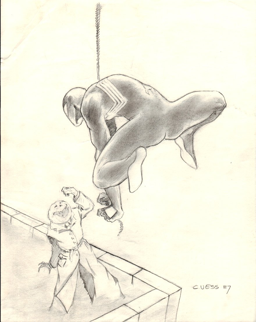 Black Costume Spider-Man Vs Jack-O-Lantern Pinup (1987)