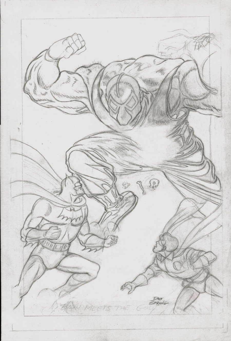 Batman Chronicles Gallery #1 Finished Pencil Pinup (Batman & Robin Battle BANE!) 1997