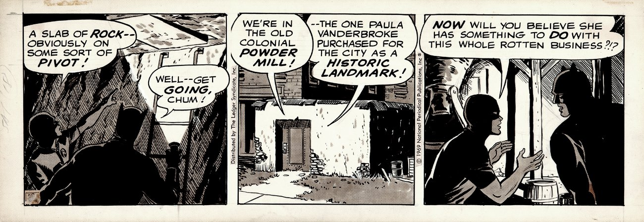 Batman Daily Strip Art dated 1-18-1969