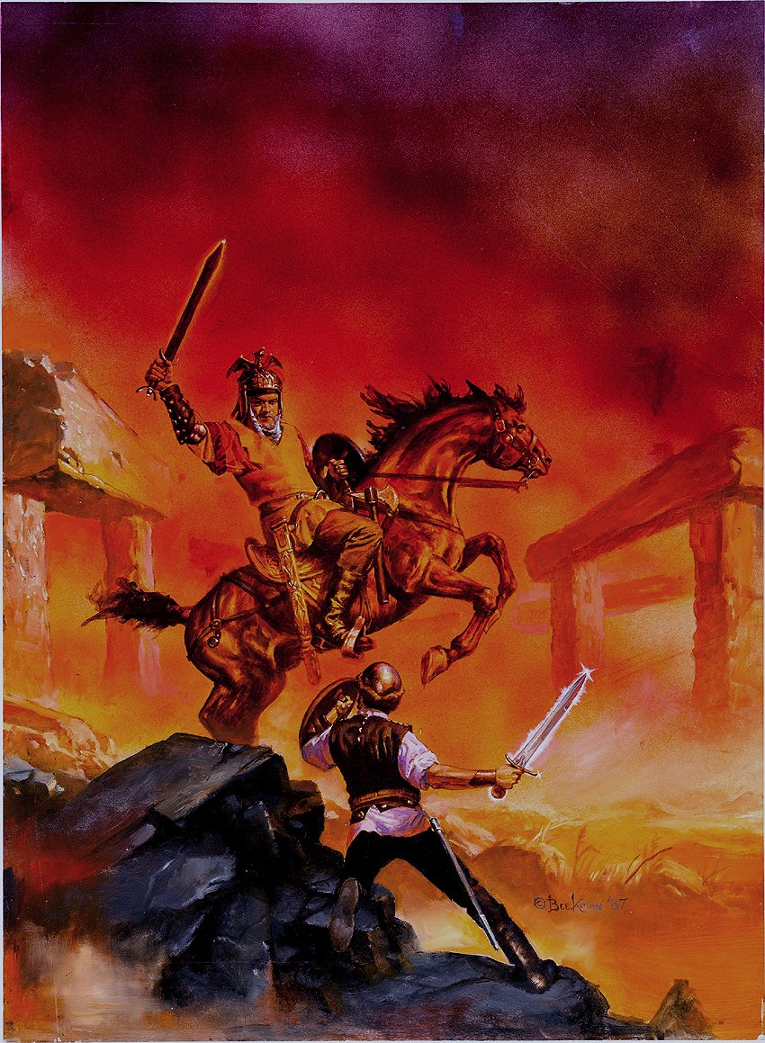 'A Crossroads Adventure: Storm of Dust' Book Cover Painting (Very Large) 1987