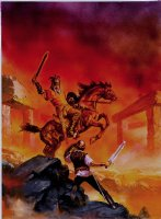 'A Crossroads Adventure: Storm of Dust' Book Cover Painting (Very Large) 1987 Comic Art