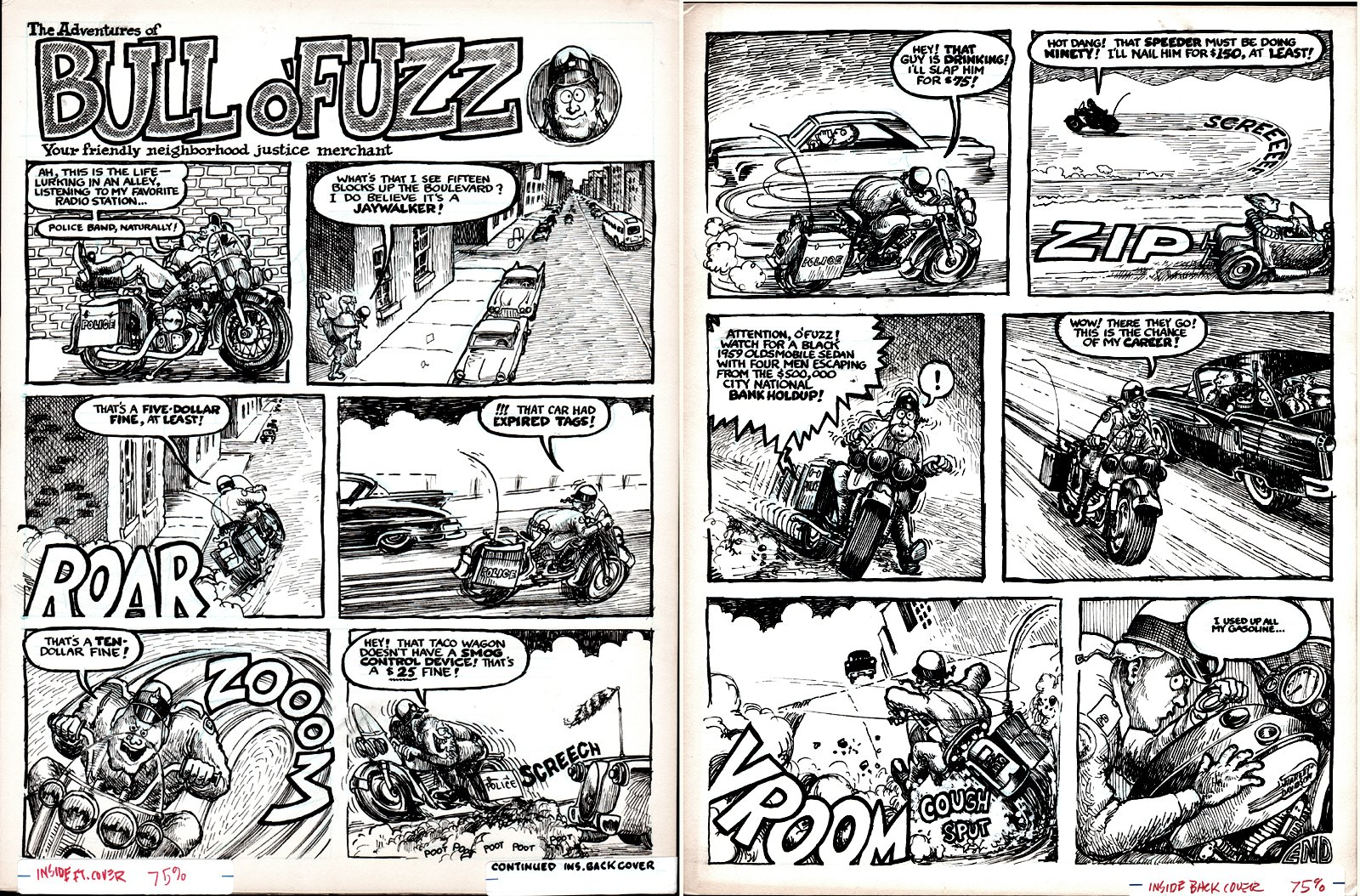 Drag Cartoons - Bull O Fuzz 2 Inside Front & Back Cover Complete Story (1960s)