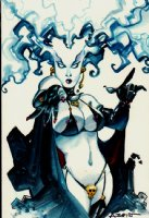 Lady Death Mixed Media Pinup Comic Art