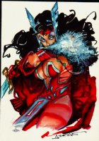 Scarlet Witch Mixed Media Pinup Comic Art