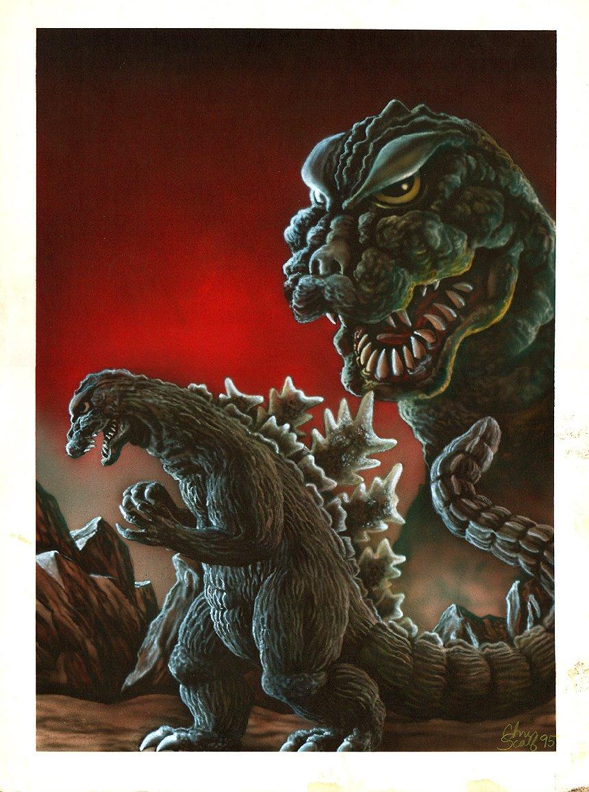 Godzilla Large Published Painting (1995)