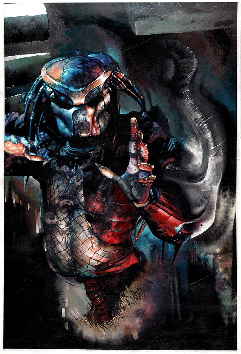 Predator: Dark River #2 Cover Painting (1996)