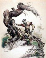 'The Gun Slinger' Painting (Very Large, Circa 1940s) Comic Art