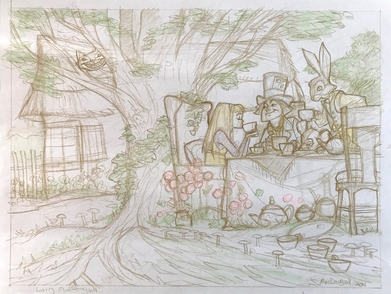 Alice in Wonderland Prelim Pinup For Painting (Large)
