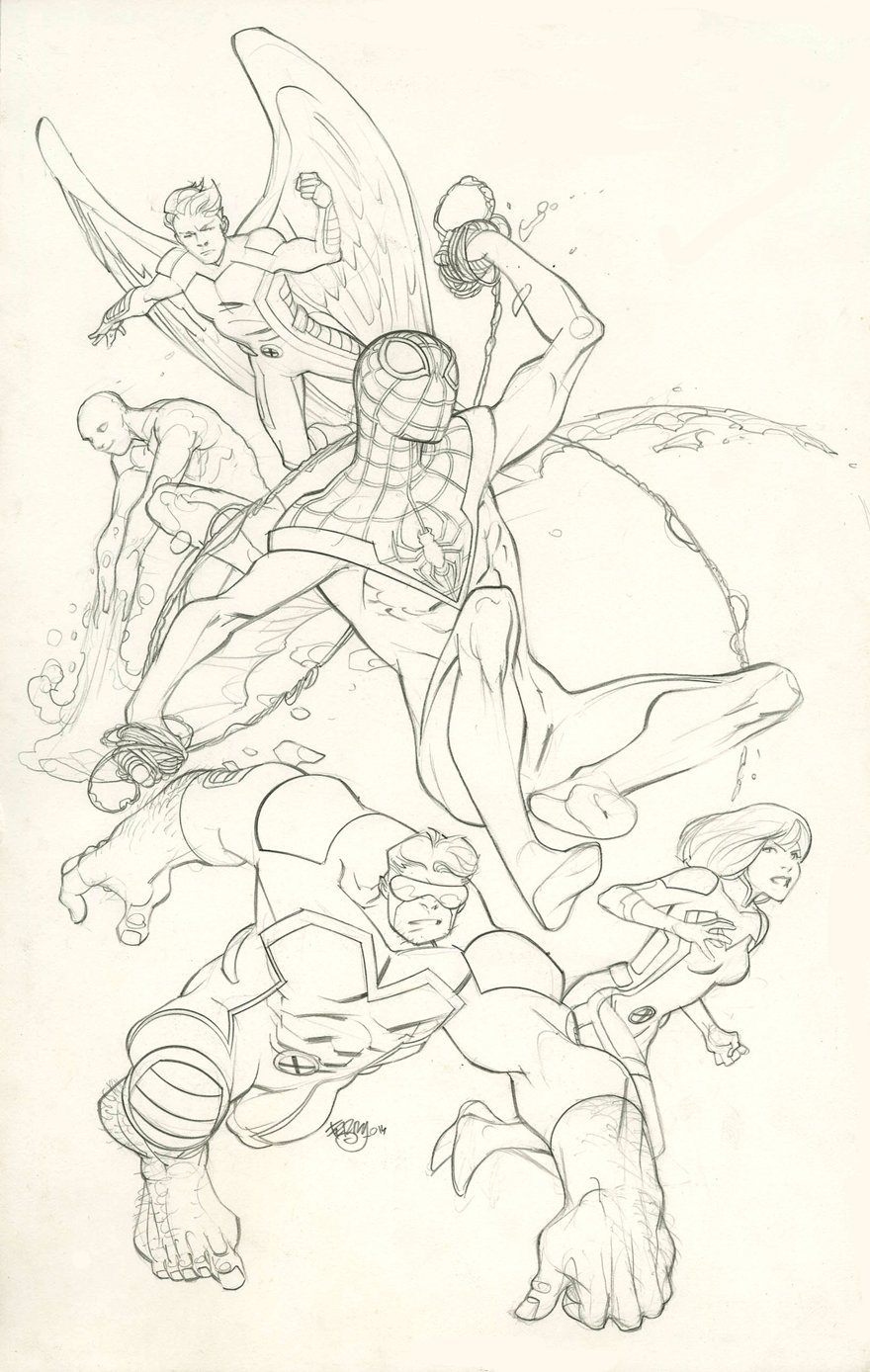 All-New X-Men #33 Cover And Full Size Detailed Prelim (2014)