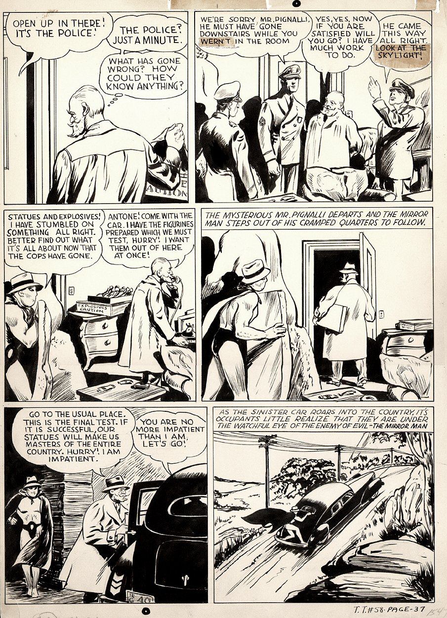 Tip Top Comics #58 p 37 (Mirror Man Superhero Pg) Large Art 1940