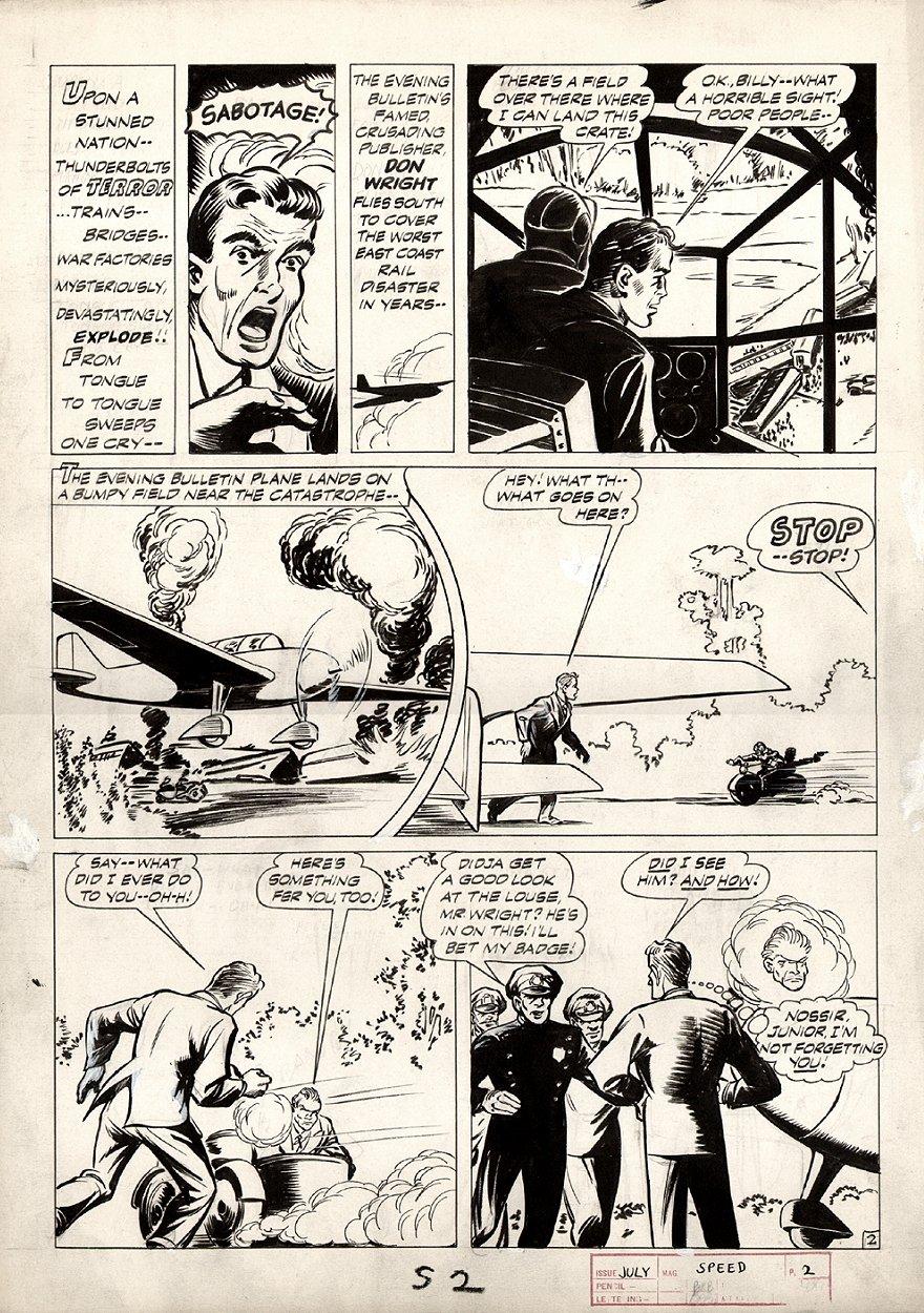 Speed Comics #33 p 2 (CAPTAIN FREEDOM STORY!) Large Art 1944