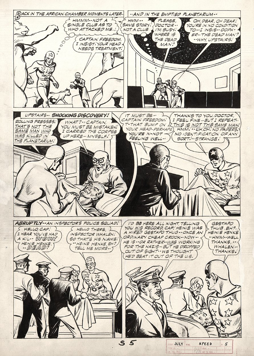 Speed Comics #33 p 5 (CAPTAIN FREEDOM STORY!) Large Art 1944