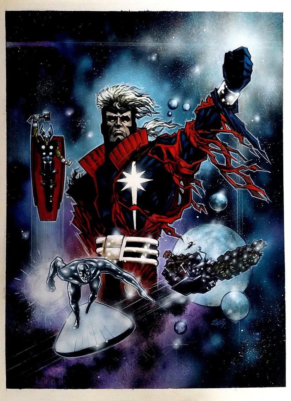 Marvel Painted Poster Art (Captain Marvel, Silver Surfer, Beta Ray Bill, Wasp) 1995