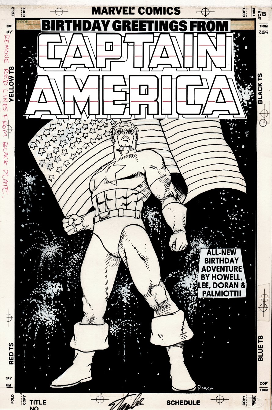 Captain America's Birthday Cover (SIGNED BY STAN LEE) 1990s)