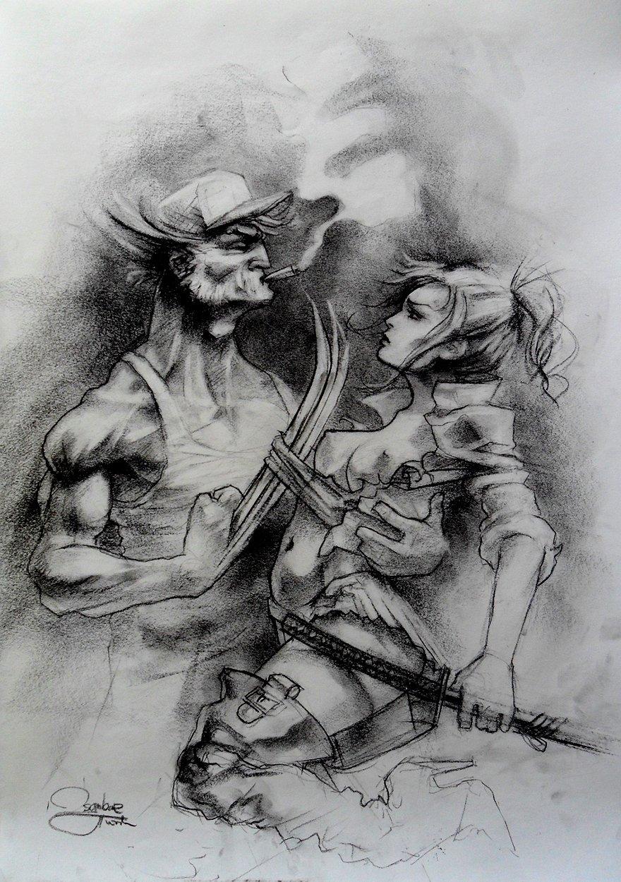 Wolverine & Mariko Huge Illustration