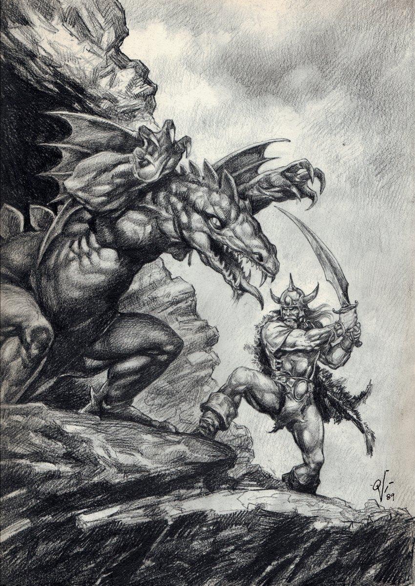 Savage Sword of Conan Pencil Pinup For Splash (1989)